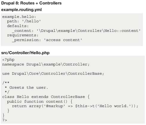 Drupal 8: Routes + Controllers